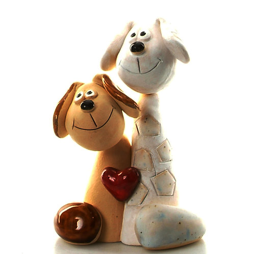 Ceramic Dog Couple (Brown & White) With Heart