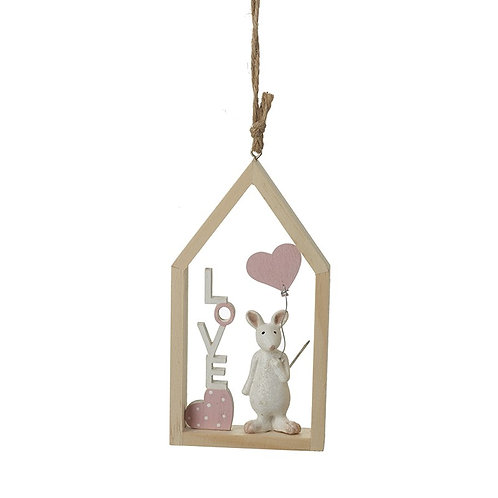 Hanging Mouse with Heart Balloon Decoration