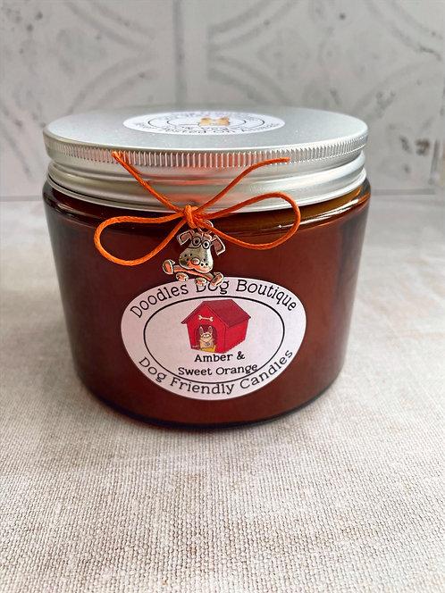 Sweet Orange & Amber Large Glass Candle