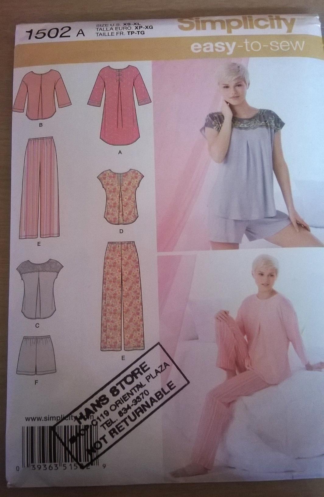 Simplicity pajama pattern