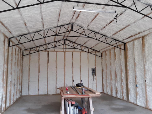 Walls and Roof Deck of a Workshop with Open Cell Foam