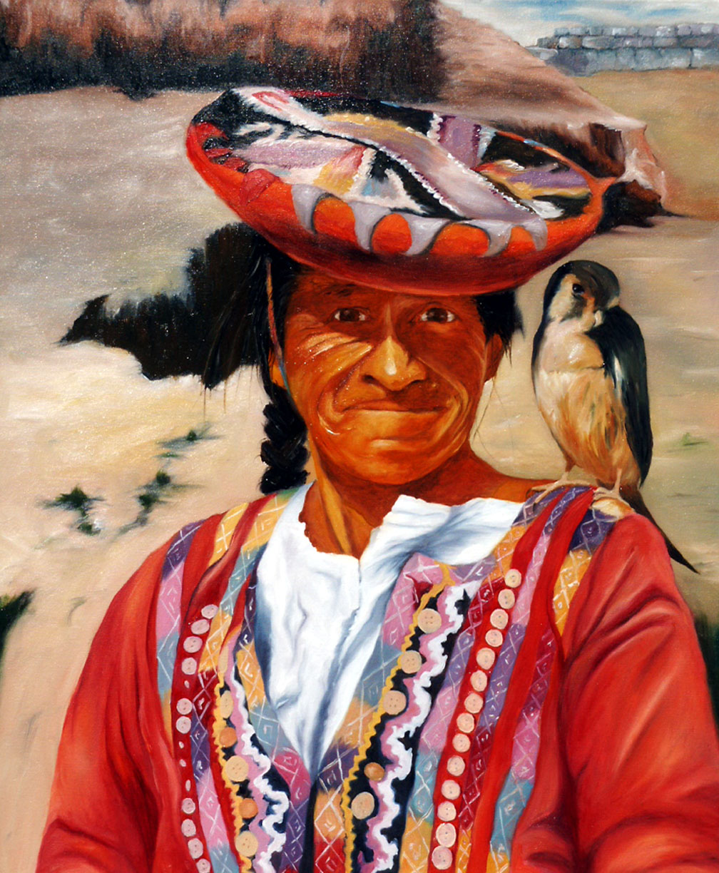 Peruvian Woman w Falcon