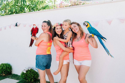 Pool party entertainers with parrotts