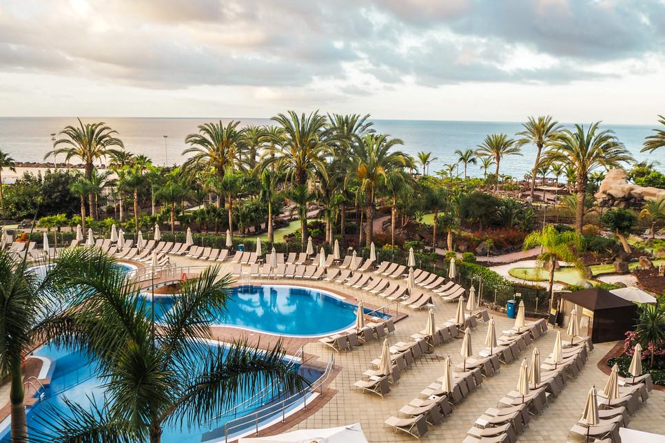 Pool and sun terraces at Anfi Beach Club