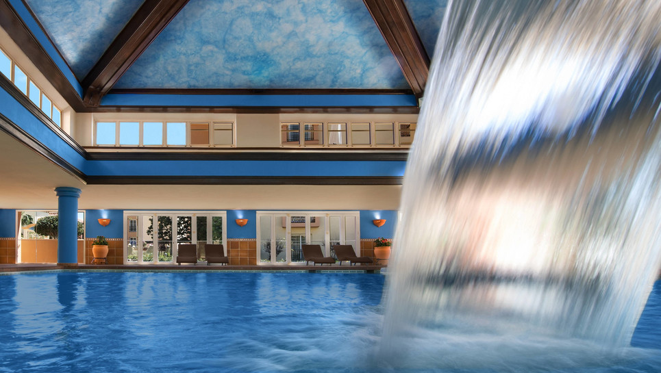 Indoor pool with water wall