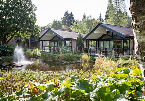 Lodges set in beautiful grounds with fountain