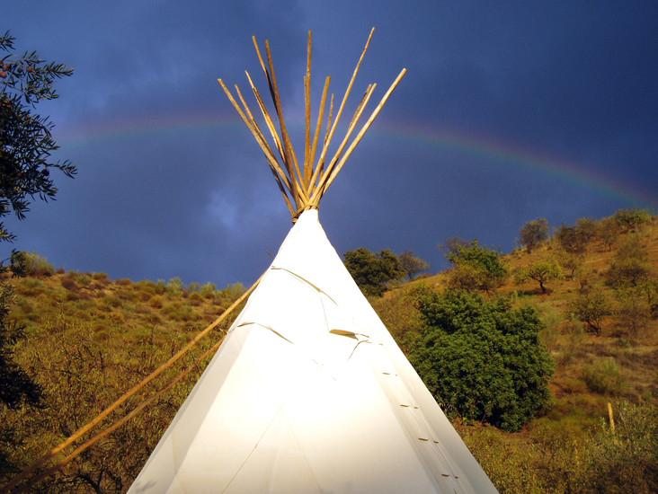 Teepee under a rainbow