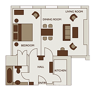 Floor plan of one bed exec apartment in 47 Park Street London