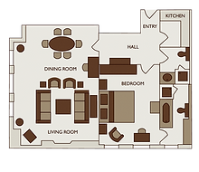 Floor plan of one bed deluxe apartment at 47 Park Street London