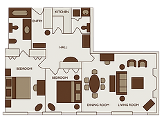 Floor plan of two bed deluxe apartment at 47 Park Street London