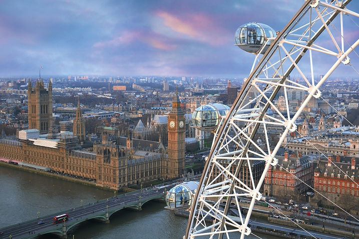 London Eye and aerial view of London
