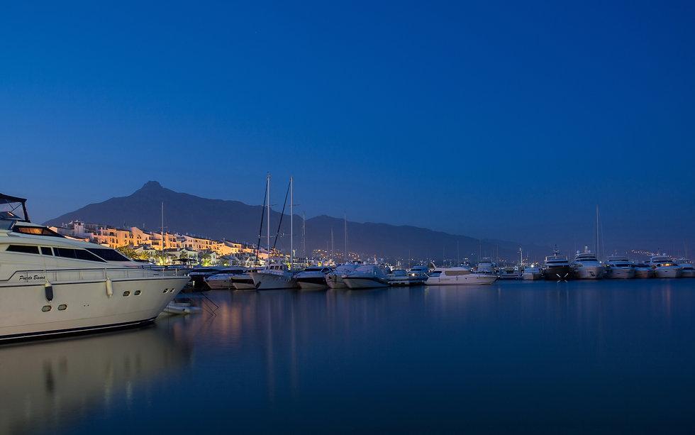Yachts in Puerto Banus at night