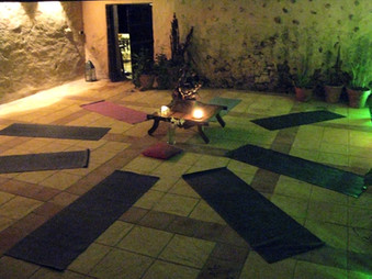Yoga studio by candle light
