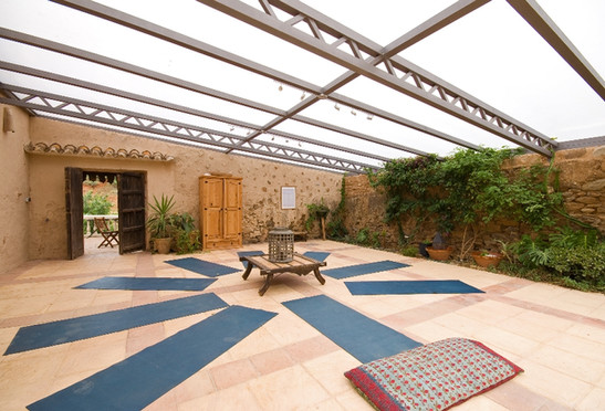 Covered courtyard yoga studio
