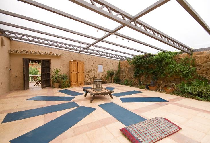 Covered courtyard yoga studio