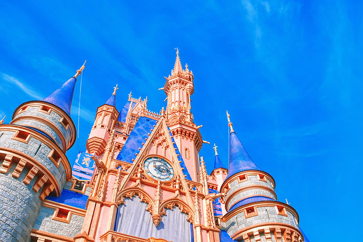 Disney Castle against bright blue sky