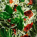 Penne with Pesto and Sun-dried Tomatoes.