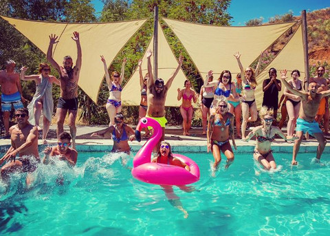 Pool party for yoga group