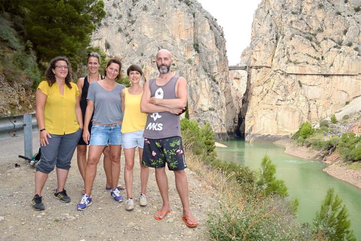 Hiking group at El Chorro