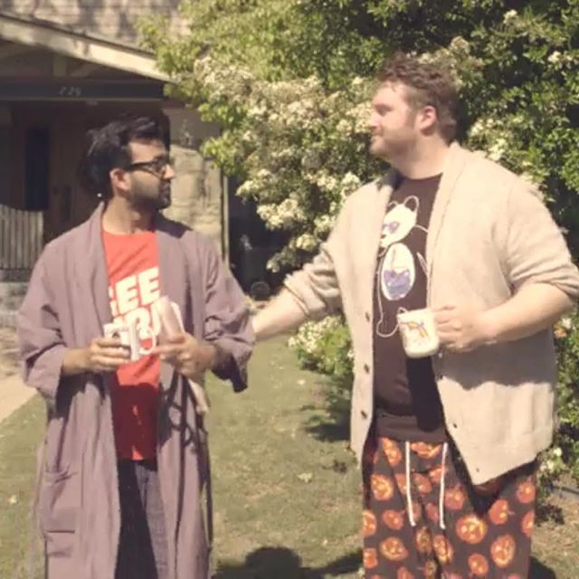 Just two dudes in their pj's getting a little touchy! #paperwait #thosb #thosbcomedy #sketchcomedy #