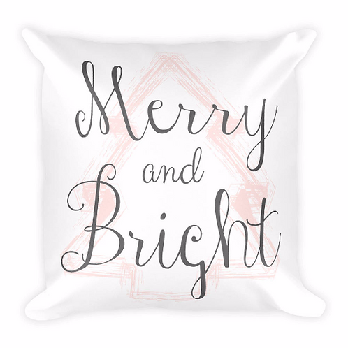 Merry and Bright Blush and Gray Christmas Pillow