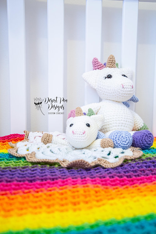 Unicorn toy and lovey