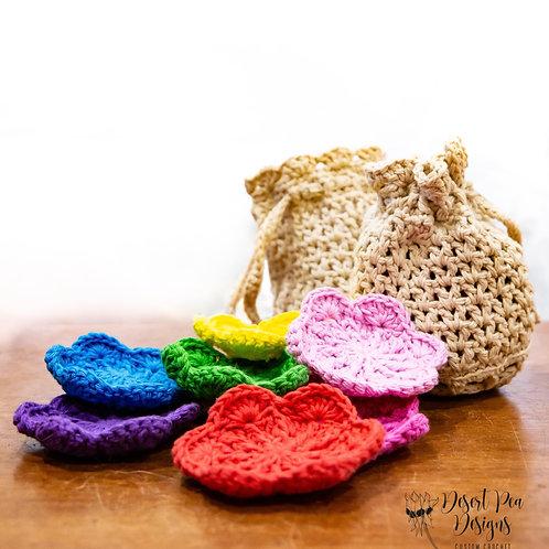 Crochet face scrubbies set