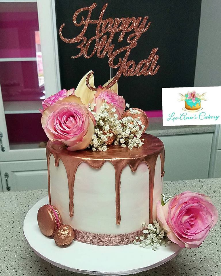 Rose gold bday and engagement cake