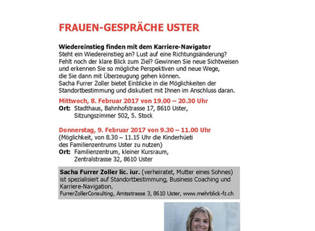 Tolle Tipps zur beruflichen Standortbestimmung von Sacha Furrer Zoller!  Alle interessierten Frauen