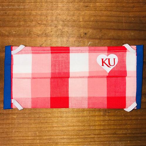 KU Red Plaid Mask with Blue Sides