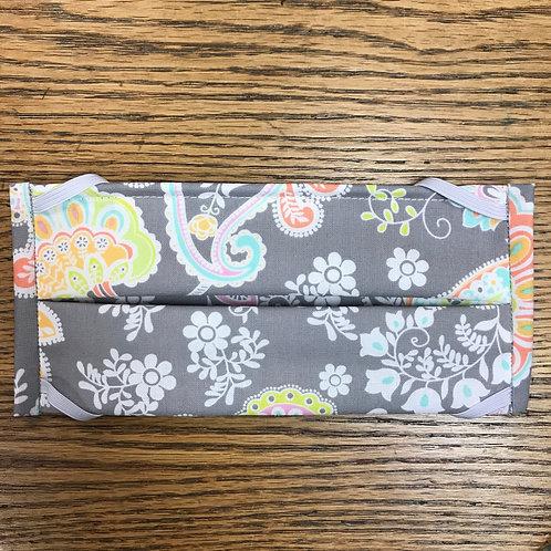 Gray Floral Paisley Print Mask