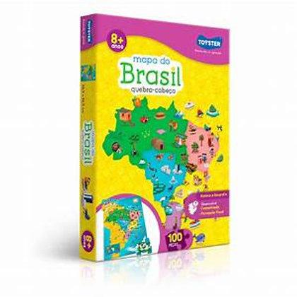 Quebra Cabeça Mapa do Brasil 100 Peças