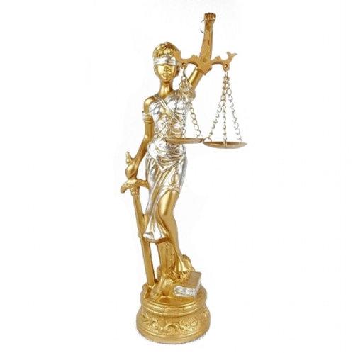 Dama Da Justiça Resina Dourada 40 cm Altura