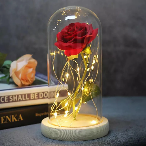 Enfeite Luminoso Flor Bella e a Fera 21 cm Altura