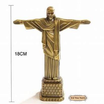 Enfeite Cristo Redentor Metal Dourado 18 cm