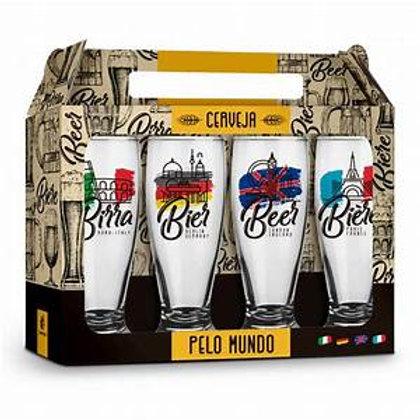 Conjunto Com 4 Copos Cerveja Pelo Mundo Munich