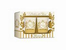 Conjunto 2 Canecas Porcelana Bodas de Ouro (50 Anos Casamento)