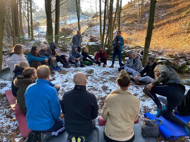 Hagar with Wim Hof Method group in Polen