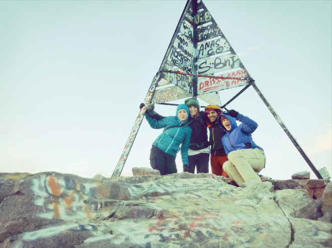 Jantine & Hagar at the summit of Mt Toubkal, Morocco