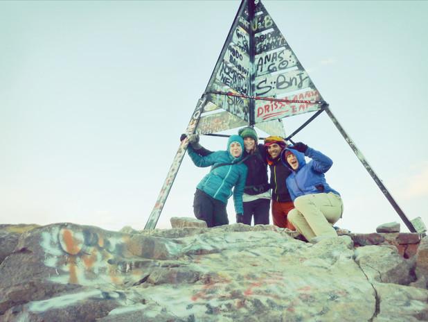 Jantine & Hagar at the summit of Mt Toubkal, Morocco