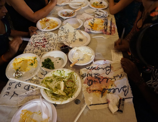 In fall 2015, Rooney cooked a selection of recipes from the napkin set and presented the meal at a public event at UnionDocs, BK. She invited a group of strangers to stain the napkins with the food that inspired their making, and also invited participants to submit their own recipes to be shared anew.