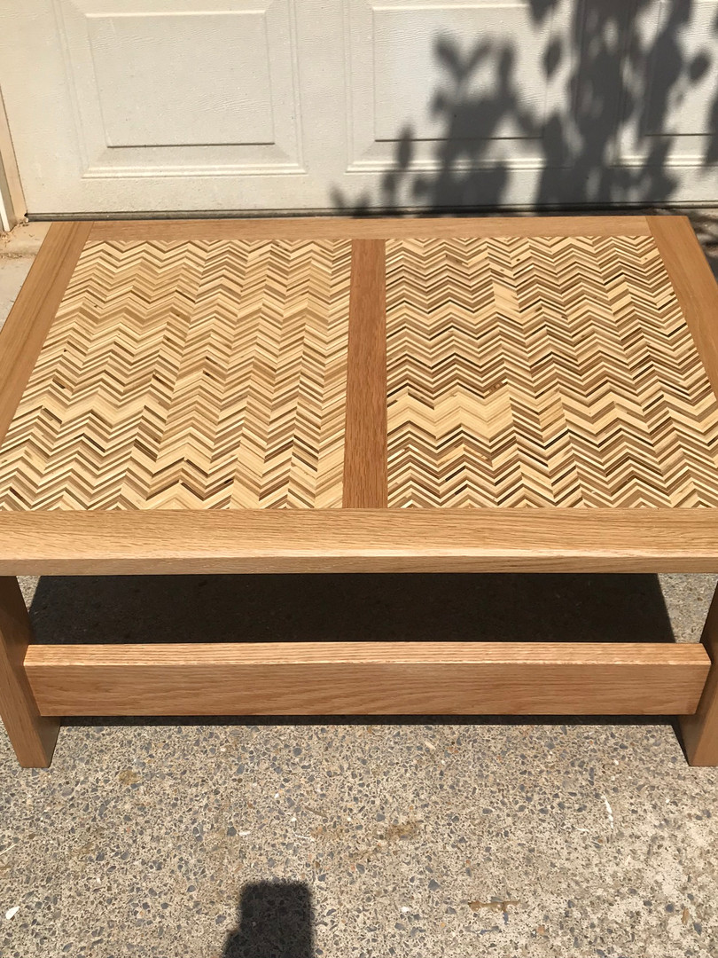 White Oak Coffee Table with Chevron Pattern