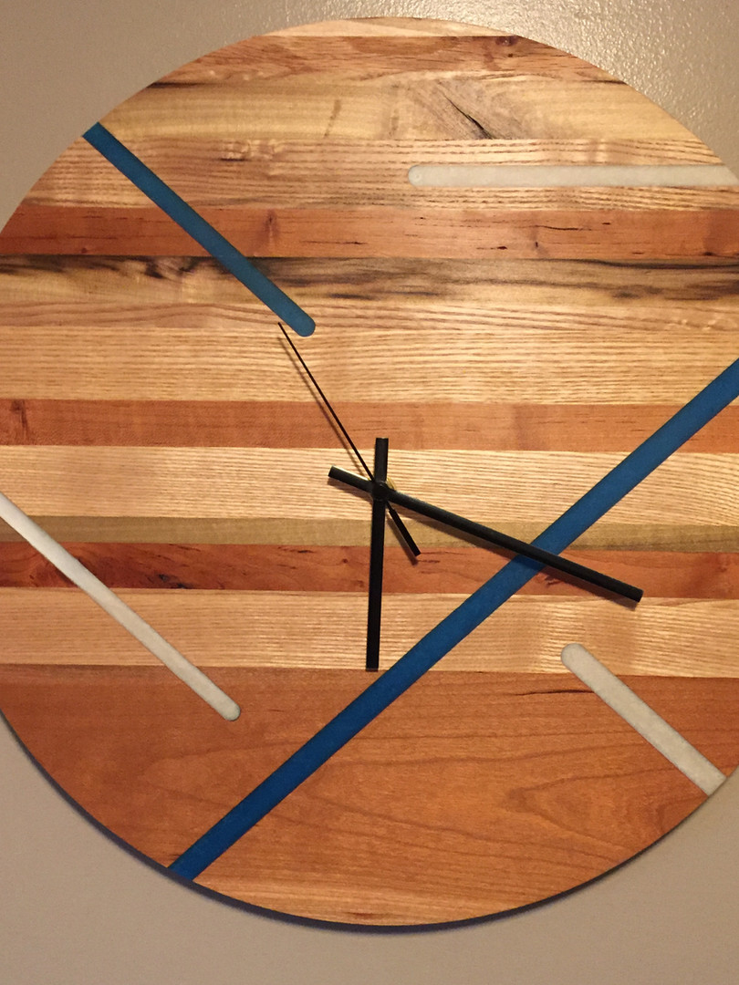 Reclaimed Wood Clock with Epoxy Accents