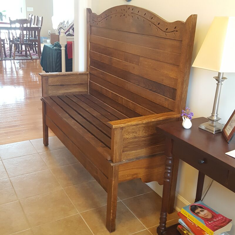 Bench made from heirloom bed frame