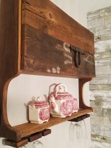 Barnwood cabinet with wine hangers