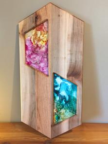 Reclaimed cherry and oak glass art