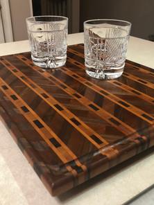 Walnut and Cherry Chevron Pattern Cutting Board