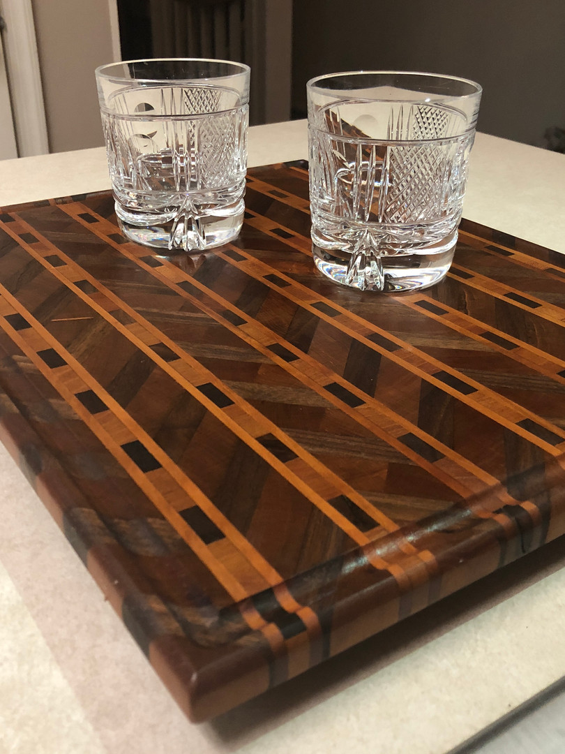 Walnut and Cherry Chevron Pattern Cutting Board