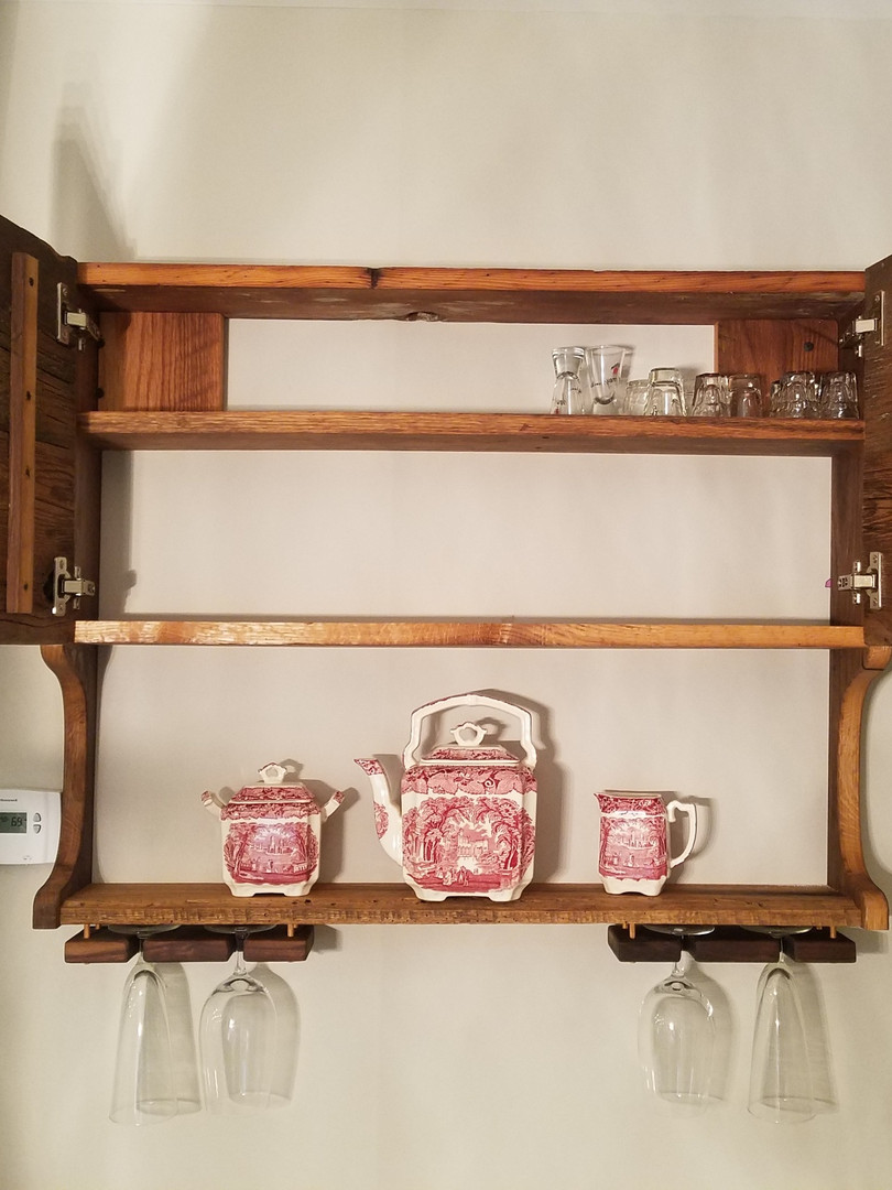 Barnwood cabinet with wine hangers