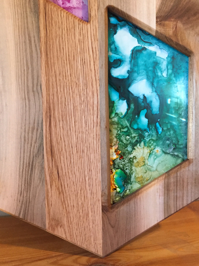 Reclaimed cherry and oak glass art